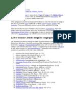 Roman Catholic Religious Order See Also
