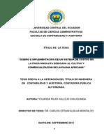 """""""Diseño e Implementación de Un Sistema de Costos en Palma Africana"""