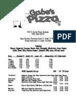gabes center road menu