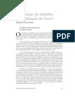 CHENAVIER, R. Civilização de Trabalho Ou Civilização Do Lazer