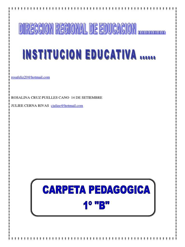CARPETA PEDAGOGICA PLANTILLA   Educación primaria   Plan de