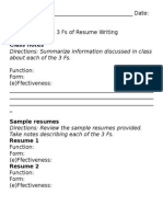 The 3 Fs of Resume Writing Handout