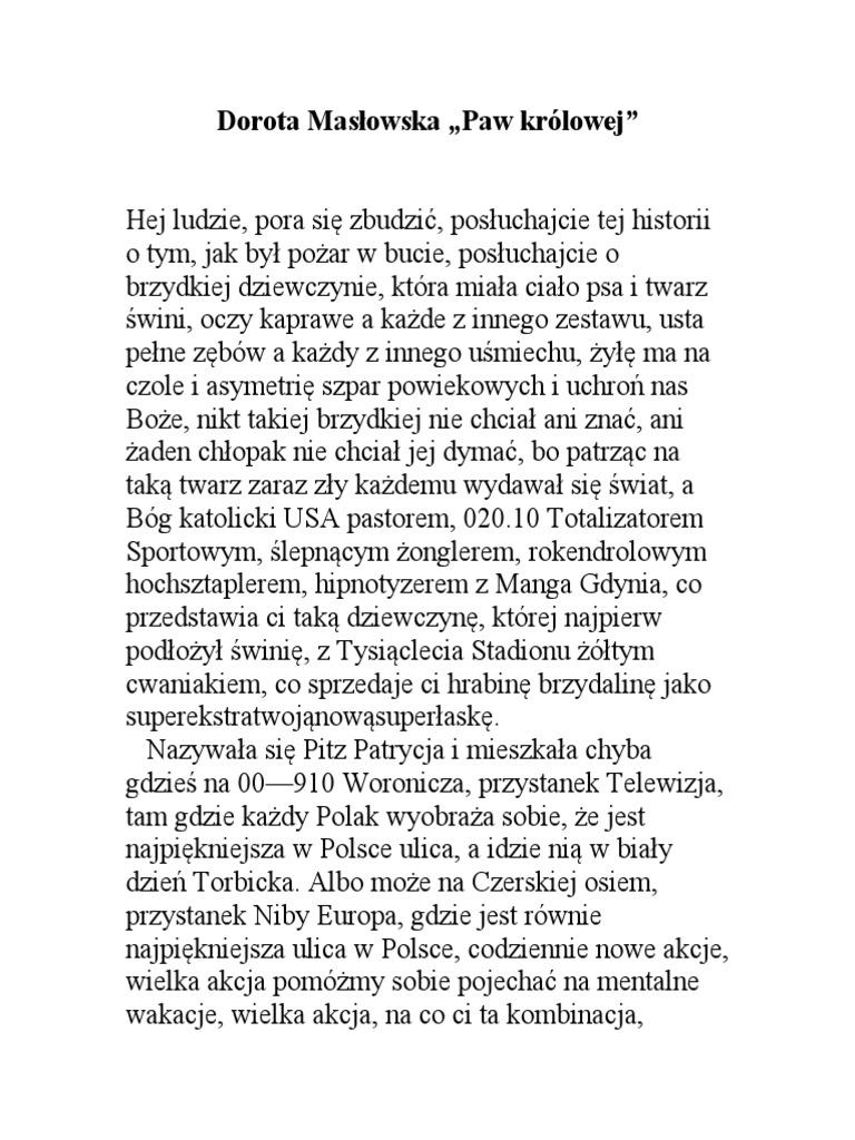 Dorota Masłowska Paw Królowej