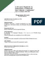 Programma corsi archeologia Federico II anno 2010 2011