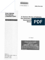A Literature Review of Radiolytic Gas Generation as a Result of the Decomposition of Sodium Nitrate Wastes