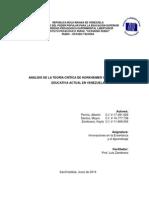 Analisis de Teoría Crítica vs La Educacion Actual en Venezuela- Equipo 5 - Alberto Pernia, Keyla Zambrano, Mayra Santos