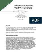 Las Contribuciones de H Maturana a Las Ciencias de La Complejidad y La Psicología