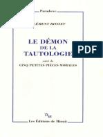 Le Demon de La Tautologie Clement Rosset