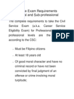 Civil Service Exam Requirements Professional and Sub