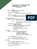 PROGRAMA DE LENGUA Y LITERATURA 2ª 4ta. - AÑO 2009