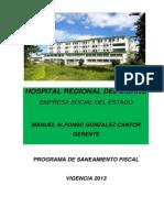 Programa de Saneamiento Fiscal y Financiero 2013