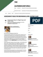 Assessment Ideas for Beginning Level Guitar Class | Teaching Guitar Workshops | The Guitar Education