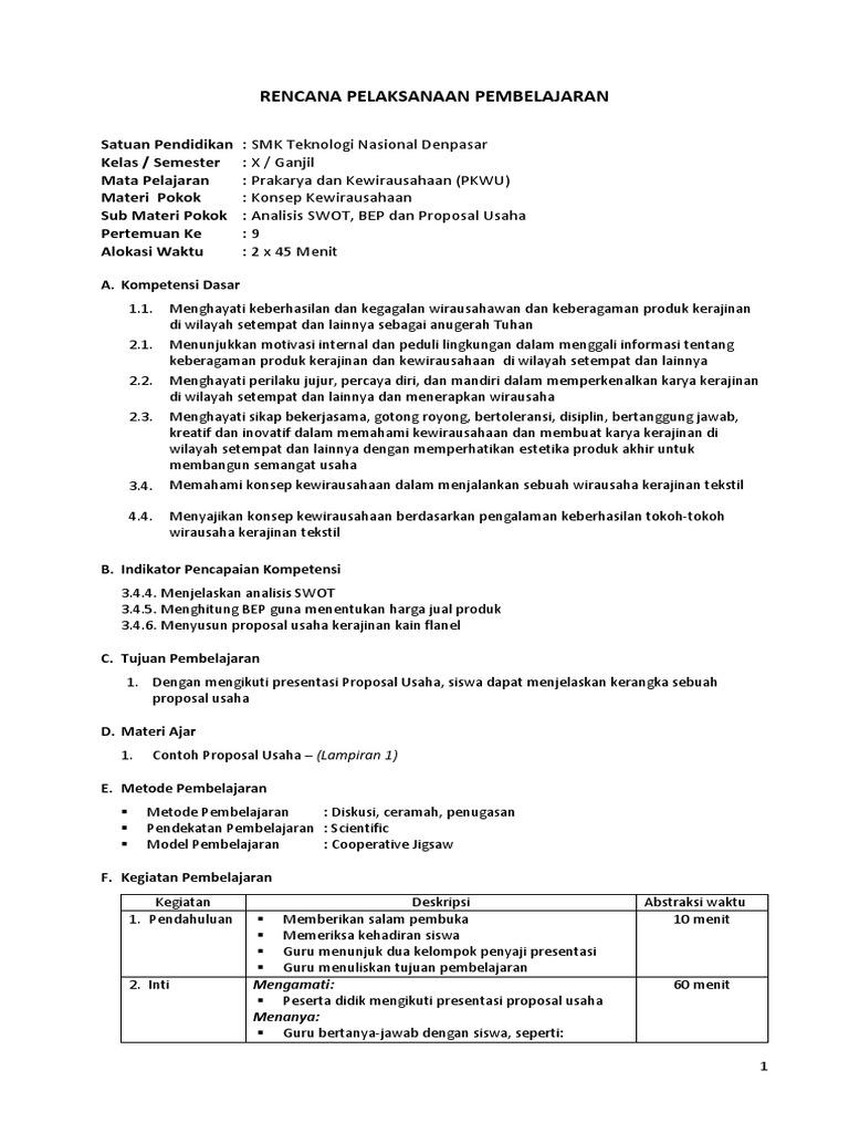 Rpp 7 Pkwu Kerajinan Kls X Gasal
