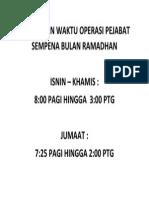 Makluman Waktu Operasi Pejabat Sempena Bulan Ramadhan
