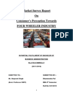 Consumer's Perception Towards  FOUR WHEELER INDUSTRY