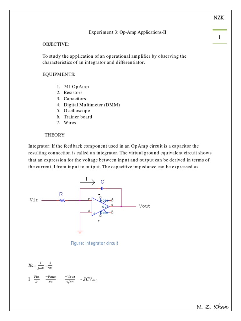 Integrator Diffentiator Operational Amplifier Electromagnetism Op Circuits On Lf351 Pin Diagram