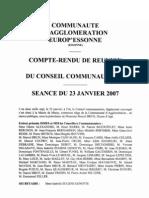 Compte rendu conseil communautaire du 23 janvier 2007