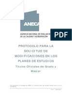 PROTOCOLO PARA LA Modificación de Planes de Estudio de Grado y Master ANECA