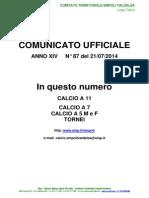C.U.N.87 del 21-07-2014