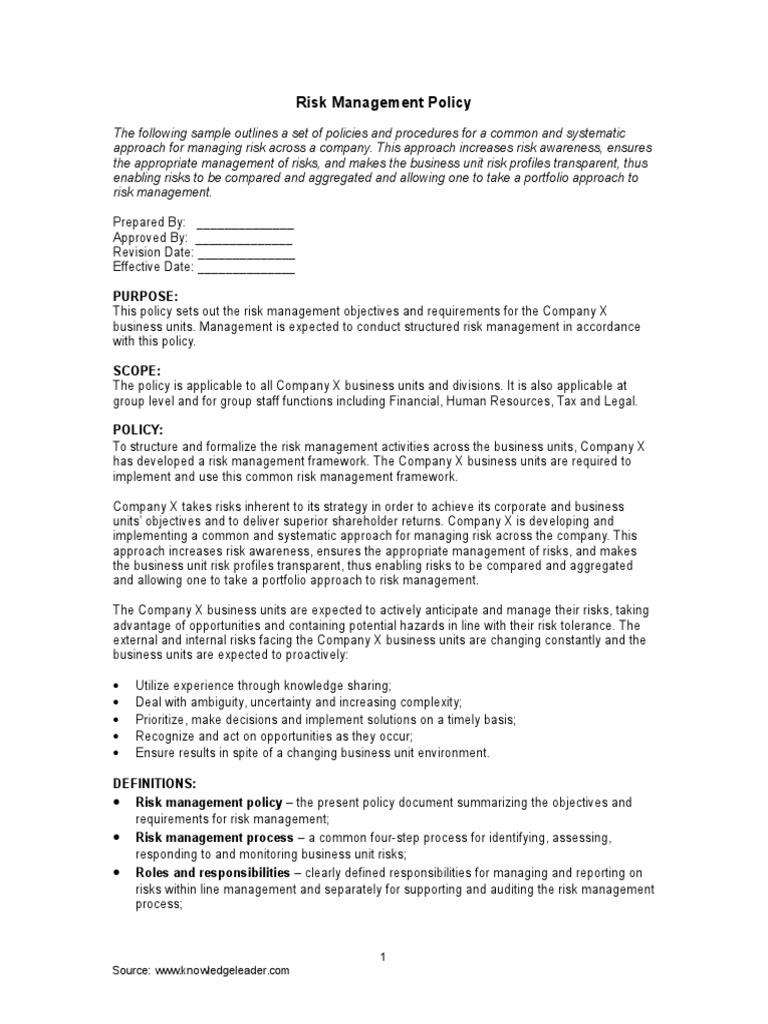 sample of risk management policy an outline risk management risk