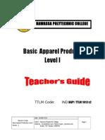 Basic Apparel Production 1 Teacher's Guide V2