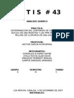 DETERMINACION DEL CONTENIDO DE CARBONATOS (K2CO3) EN UNA MUESTRA Y LAS PPM (PARTES POR MILLON) DE CLORUROS EN UNA SOLUCION.