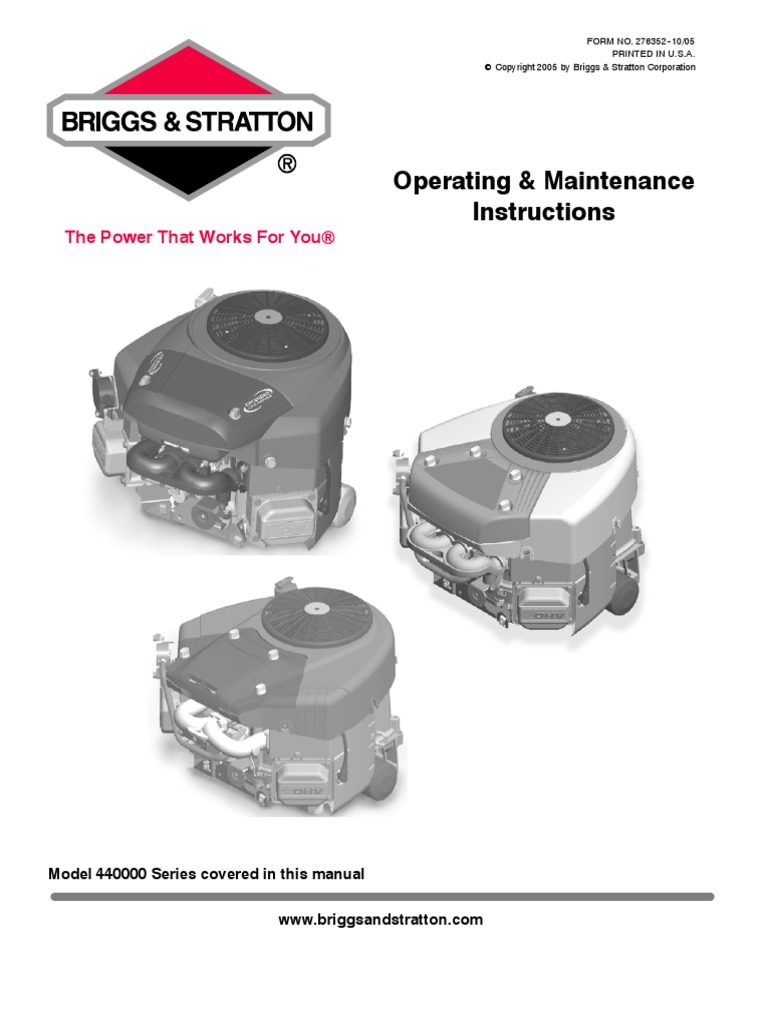 Briggs & Stratton Model 440000 Operating and Maintenance Instructions    Motor Oil   Gasoline