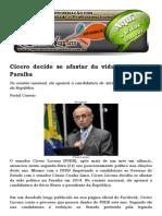 Cícero Decide Se Afastar Da Vida Política Na Paraíba
