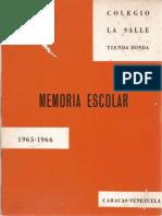 Colegio La Salle Memoria Escolar 1965-1966