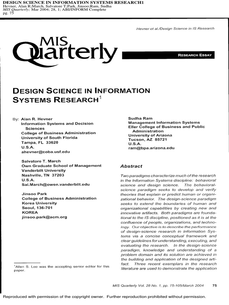 Design Science In Information Systems Research Copyright Private Law