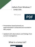 Forensic analysis of Windows 7 Jump Lists