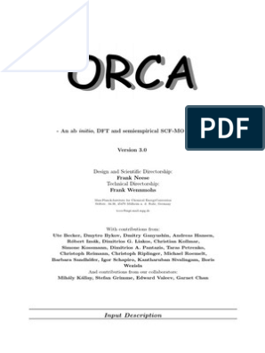 Orca Manual | Density Functional Theory | Solid State Engineering