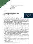 A. a. Leontiev - Psycholinguistic Units and Speech Generation
