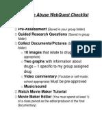 substance abuse webquest checklist