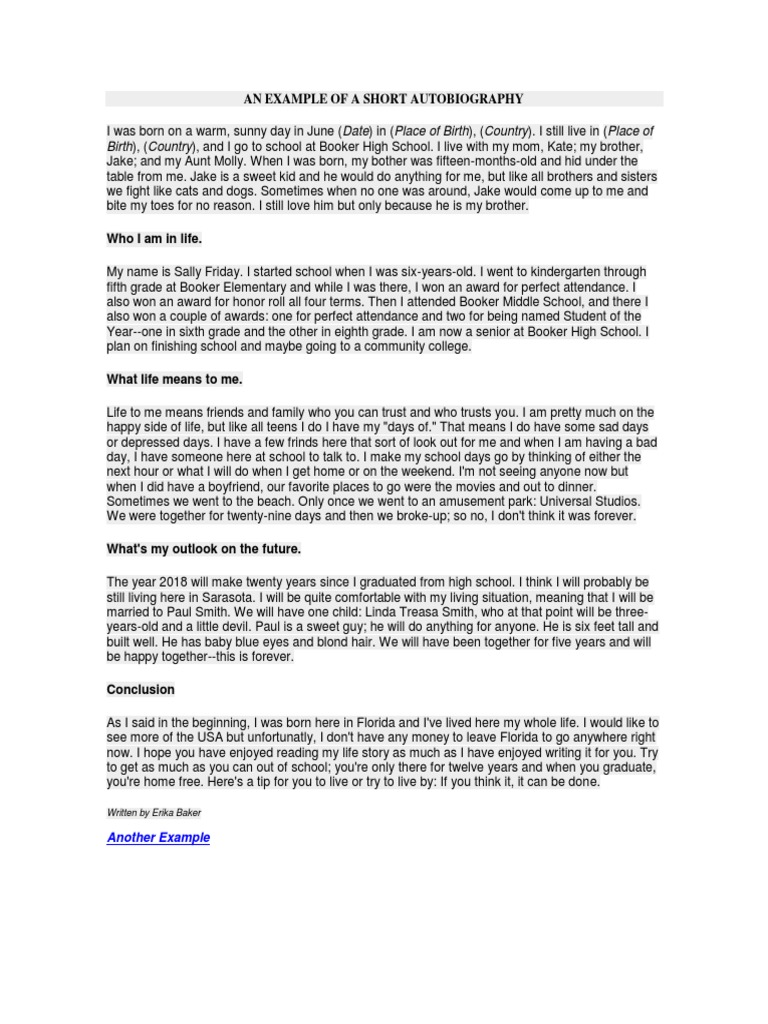 autobiography what life means to me essay