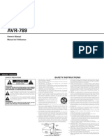 Pioneer AVR-789 User Manual