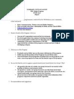 Summary of Evaluation of the Program