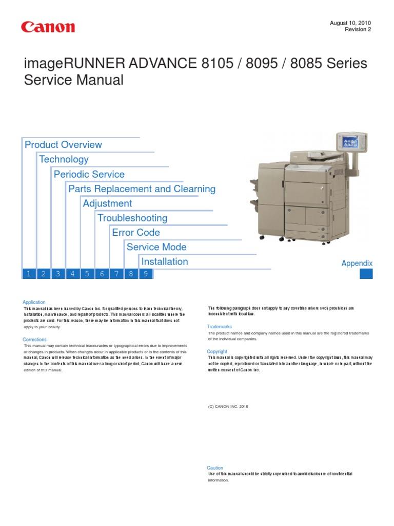 canon imagerunner advance 8085 8095 8105 series service manual rh scribd com Canon Super G3 Fax Machine Canon Copy Machine Manual
