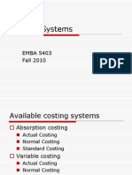 EMBA 5403 Costing Systems