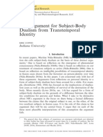 Ludwig - The Argument for Subject-body Dualism From Transtemporal Identity
