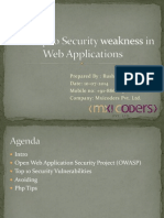 The top 10 security weakness (vulnerabilities) in web applications (OWASP Top 10)
