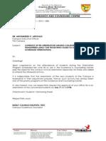 Letter Re Orientation