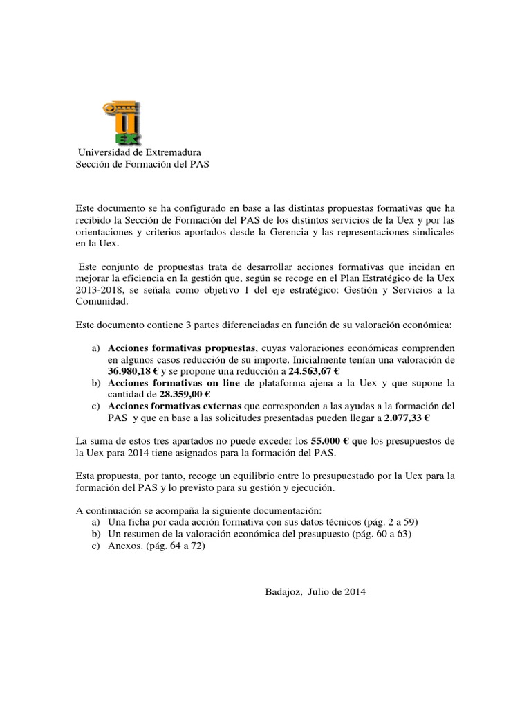 Calendario Uex.Borrador Del Plan De Formacion Del Pas De La Uex 2014