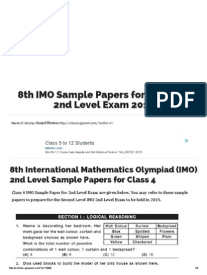 8th IMO Sample Papers for Class 4 - 2nd Level Exam 2015