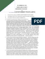 Memorandum of Association JM&EPL
