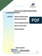 Implementacion de La Funcion Logica XOR, Mediante Un Modelo Neuronal y El Algoritmo BACKPROPAGATION