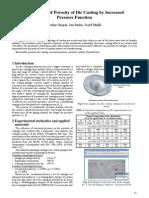 Elimination of Porosity of Die Casting by Increased