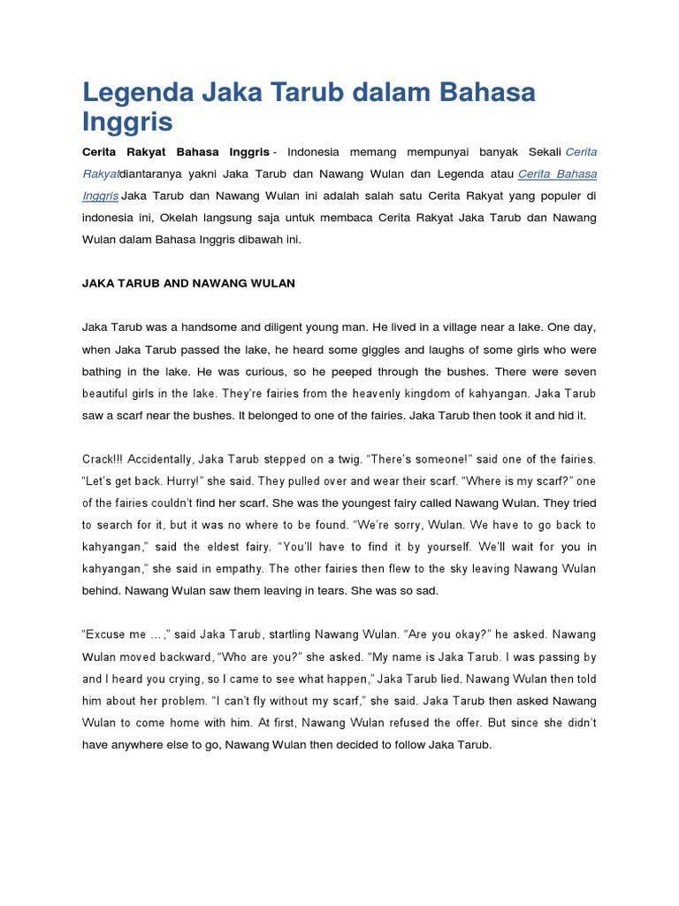 Legenda Jaka Tarub Dalam Bahasa Inggris Docx Rice