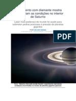 Experimento Com Diamante Mostra Como Seriam as Condições No Interior de Saturno