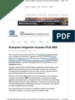 Enterprise Integration Includes PLM, MES